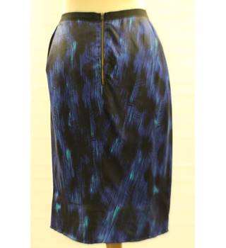 Whistles, size 12 blue mix patterned silk skirt
