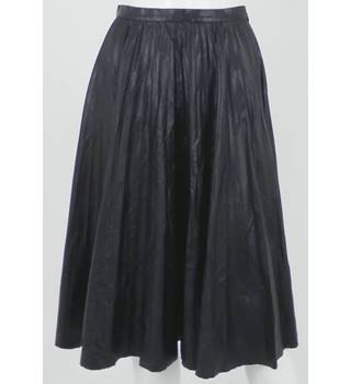WHISTLES Black P-leather (Faux Leather) Pleated Skirt UK Size 8 / Euro Size 36
