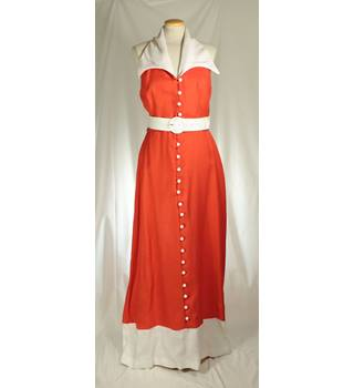 Vintage 70's After Six by Ronald Joyce, size M orange  halterneck dress