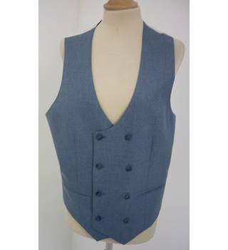 "Asos Size: M, 38"" chest, skinny fit Blue Grey Casual/Stylish Polyester & Viscose Double Breasted Waistcoat"