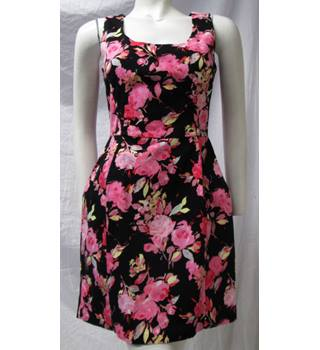 Oasis Size 10 Black and Pink Floral Dress Oasis - Size: 10 - Black