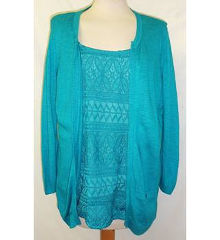 Per Una - Size: 16 - Dark Turquoise - Two-in-One Cardigan with Top