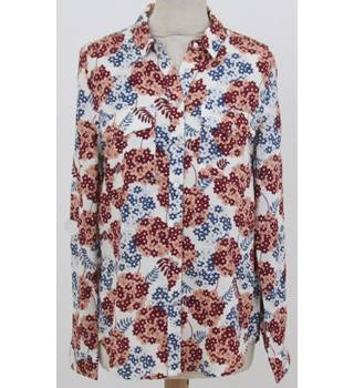 BNWT Tu, size 10 ivory, burgundy, coral & blue floral print long sleeved shirt