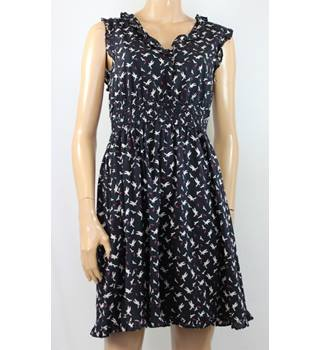 Cache Cache Size 12 Black with Bird Print Dress