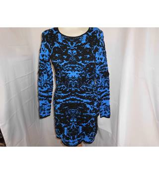 Blue and Black fitted dress Topshop - Size: 10 - Blue - Mini dress