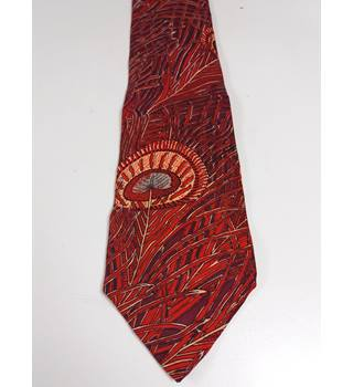 Liberty Red Peacock Feather Silk Tie