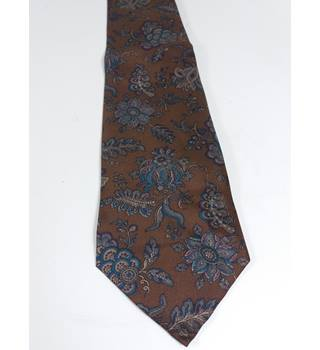 Liberty Silk Brown With Floral Print Tie