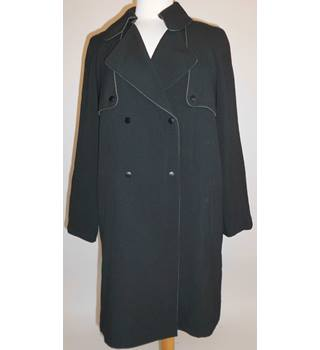 M&S Collection Black Double Breasted Coat Size 12