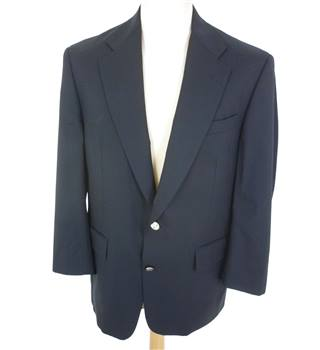 "Burberry Size: M, 38"" chest, tailored fit Navy Blue Smart Wool Designer Single Breasted Blazer With Silver Effect Buttons"
