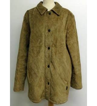 Barbour - Size: 16 - Brown - Suede quilted jacket / coat
