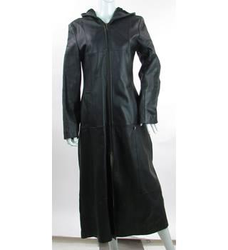 Firetrap - Size: 12 - Black - Long Genuine Leather Coat with Hood