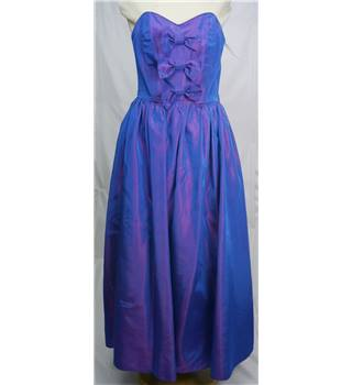 Elizabeth Ballantyne - Size S Blue/ Purple with Bow Detailing Dress