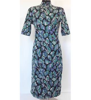 NWOT M&S Limited Edition Size 10 Black with Green, White and Blue Metallised Fibres Pattern Dress