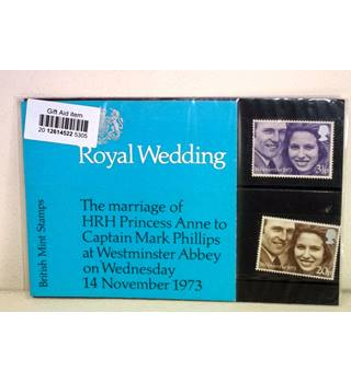 Princess Anne and Mark Phillips. Wedding Stamps Grey