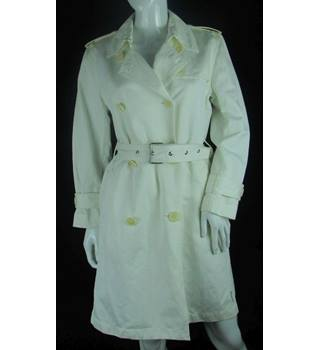 Moncler - Size: 12 - White - Double-Breasted Linen Blend Coat
