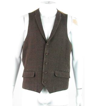 Harry Brown Heritage - Size: 44R - Chocolate Brown/Black/Red - Wool Mix - Waistcoat