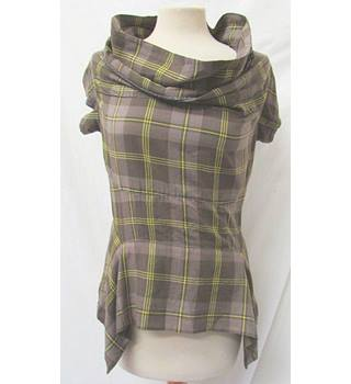 Firetrap - Size: S - Brown/ Grey with Yellow Checked Sleeveless Top