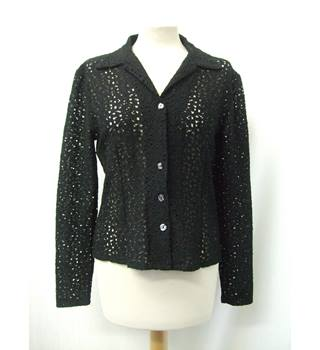 Oasis - Size: 10 - Black - Long sleeved shirt with patterned holes