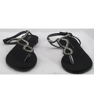 NWOT M&S Collection, size 3 black thong jewelled sandals