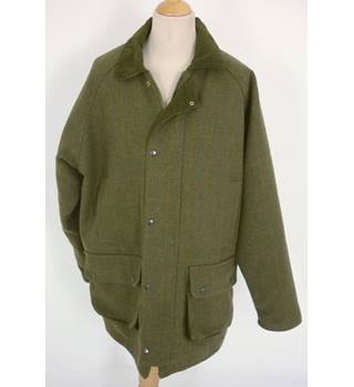 "Green Belt Size: XL, 46"" chest, reg length Dark Olive Green Casual/Country/Hunting/Shooting Wool Blend Twill Jacket"