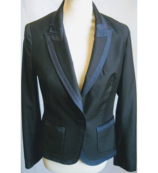 Whistles Size 10 black with navy trim smart wool jacket