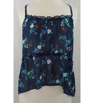 Hollister - M  - Navy with Turquoise Floral Strappy Top