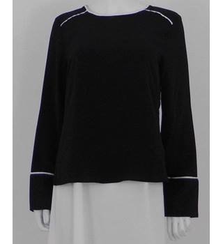 NWOT M&S Marks & Spencer Size: 12 Black Pajama Inspired  Blouse