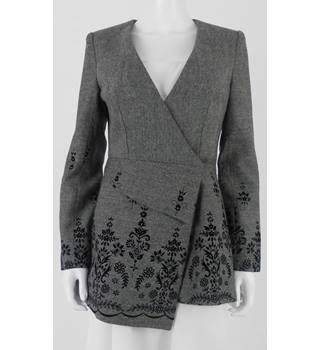I Unique Grey Size 12 Grey and Black Flocked Flocked Fitted Jacket