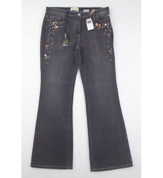 BNWT Next Size 14R Dark Aniseed Gemstone Embellished Boot Cut Jeans
