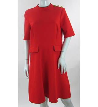 BNWOT - M&S Marks & Spencer - Size: 16 - Red - A-Line Knee length dress
