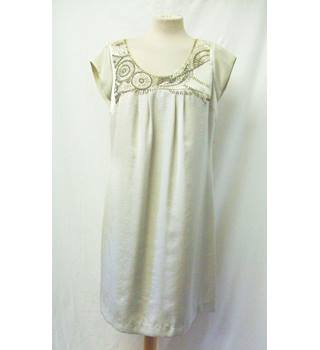 Autograph - Size: 14 - Beige - Knee length dress with pearls