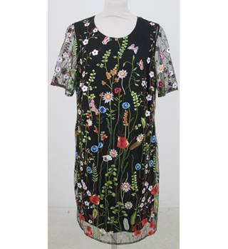 NWOT M&S  - Size: 14 - Black with embroidered Floral Pattern Dress