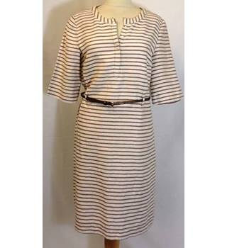 CC Petite Size 14 Fawn and Brown Horizontally Striped Dress
