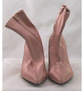 NWOT M&S Collection, size 3.5 nude pink satin effect ankle boots