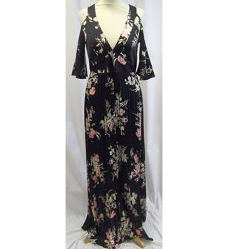 Akaash Mumbi - Size: S- Black with Pink and Green Floral Full Length Dress