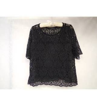 M&S Collection Lacy Top with Camisole, Black, size 14 M&S Marks & Spencer - Size: 14 - Black
