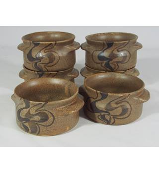 Larbert Pottery Soup Bowls - Brown - Set of 6