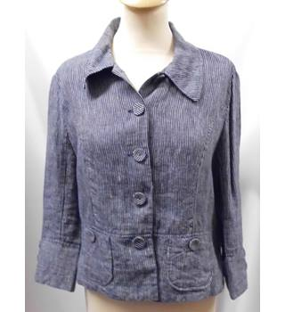 Hobbs - Size: 14 - Navy Blue and Grey Vertically Striped Jacket