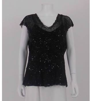 Hobbs Size: 16 Black Beaded and Sequinned Top
