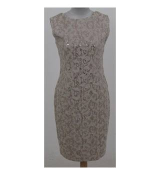 CeMe London, size 10 beige with floral pattern & bronze sequinned dress