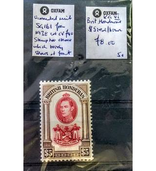 Unmounted Mint SG161 British Honduras 1938 $5 Red/Brown