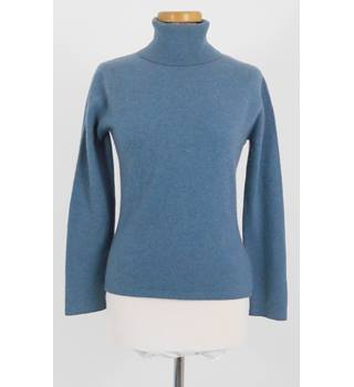 Brora Size 10 Slate Blue Roll Neck Size Soft Pure Cashmere Jumper