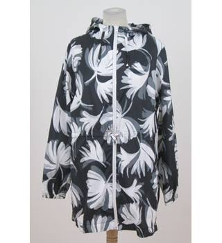 M&S Collection Size: M - Black with white and grey floral patterns - coat