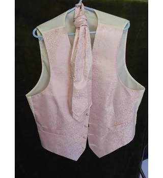 M&S Marks & Spencer, Size L, Pink Silk with Ascot Tie Waist Coat