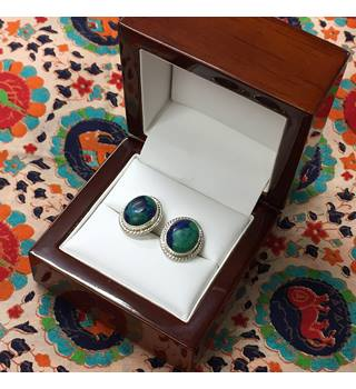 Silver Earrings Marked 925 with blue/green stone
