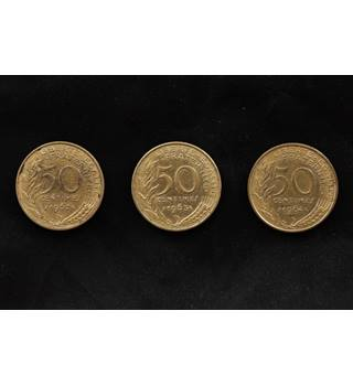 French 50 Centime Coins, x3 Coins 1962-1964