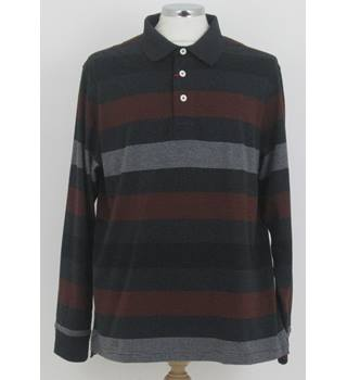 NWOT M&S Blue Harbour Size: L Charcoal with red and white stripes long sleeved Polo Shirt