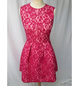 H&M - Size: 10 - Red Lace Skater Sleeveless Dress