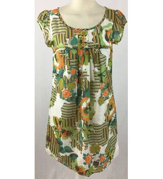 River Island - Size: 8 - White with Green and orange floral pattern dress