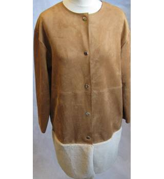 Zara w/b tan faux suede/shearling trimmed coat size S/M Zara - Size: 10 - Brown - Casual jacket / coat
